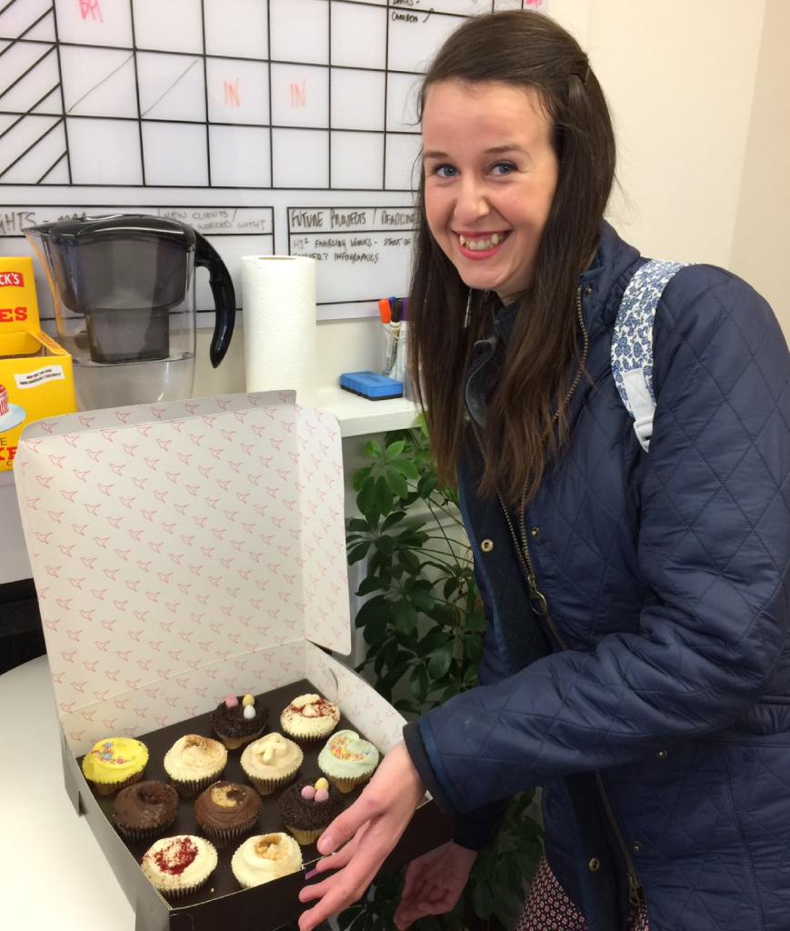 TDL intern, Erin cupcakes